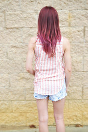 Pink Striped Tank  Roselynn's