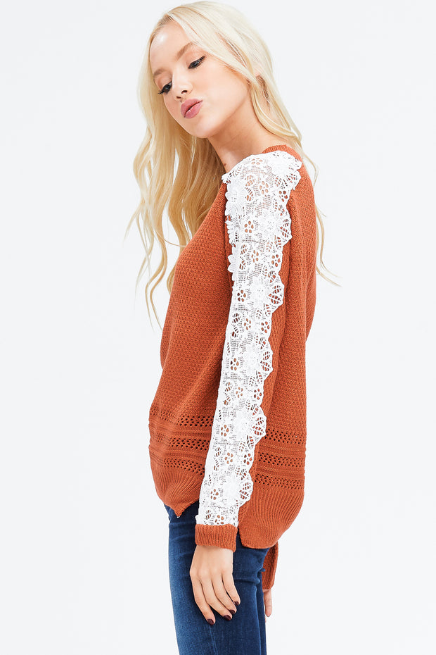 Crochet Lace Sweater -Rust  Roselynn's