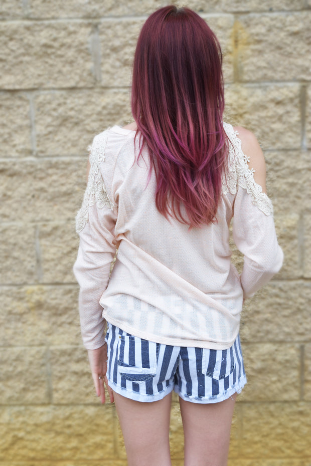Striped Distressed Shorts  Roselynn's