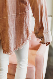 Blush Frayed Hem Button Up  Roselynn's