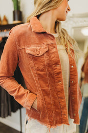 Dusty Rose Corduroy Raw Hem Jacket  Roselynn's