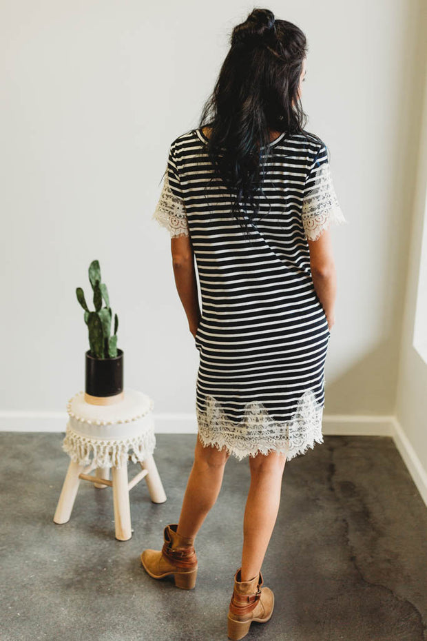 Striped Lace Tee Dress  Roselynn's