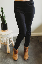 Black Moto Jeggings  Roselynn's