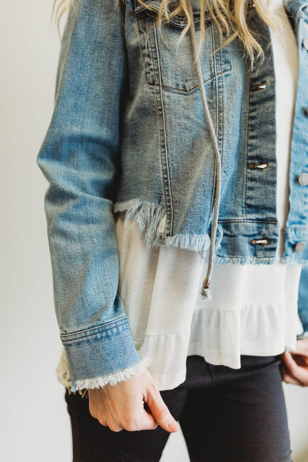 Raw Hem Denim Jacket  Roselynn's