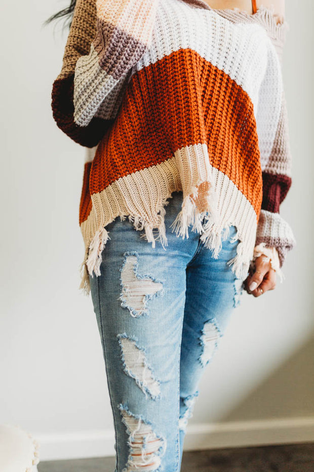 Color Block Distressed Sweater  Roselynn's