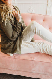 White Moto Jeggings  Roselynn's