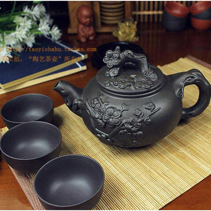 Yixing Flowers Teapot (w/cups)