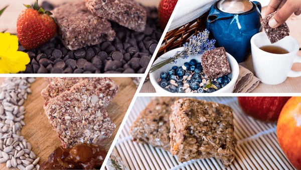 mitten bites Delicious_Healthy granola bars and ingredients in 4 overlapping photos