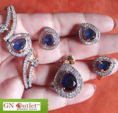 Absorbing Blue American Diamond and Crystals Designer Full Set