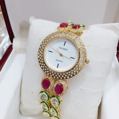 Awesome Multicolour Kundan and Crystal Designer Watch