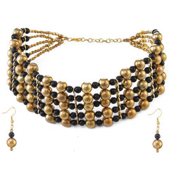 Absorbing Black & Yellow Color Zinc Alloy Necklace Set