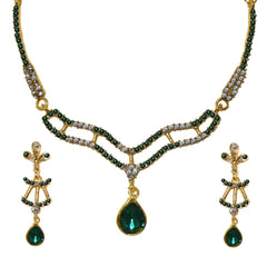 Absorbing Green Color Zinc Alloy Necklace Set