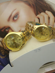 Awesome Golden colour Rolex Replica Designer Watch For Couple