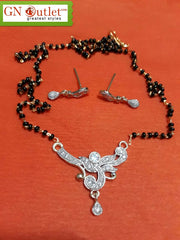 Demure American Diamond Plated Mangalsutra With Earrings