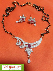 Beauteious American Diamond Plated Mangalsutra With Earrings