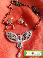 Competent American Diamond Plated Mangalsutra With Earrings