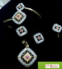 Ambrosial American Diamond and Crystals Designer Full Set