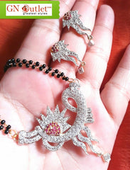 Conspicuous American Diamond Plated Mangalsutra With Earrings
