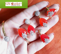 Awesome Red American Diamond and Crystals Designer Full Set