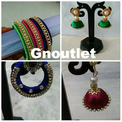 3 Multi color Bangles with Matching Jumkhas