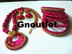 Amazing Pink colour Silk Thread Full Necklace set