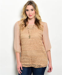 Ire Taupe top features 3/4 sleeves, rounded neckline