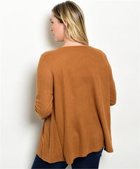Ire Suede jacket features long sleeves and an open waterfall front.