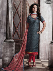 Absorbing Gray Colour Chanderi Embroidery Unstitched Dress Material