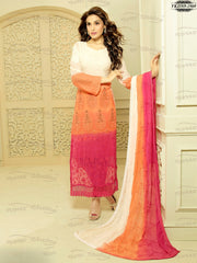 Absorbing White,Orange & Pink Colour Chiffon Embroidery Work Unstitched Dress Material