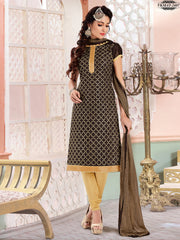 Absorbing Brown Colour Chanderi Cotton Embroidery Unstitched Dress Material