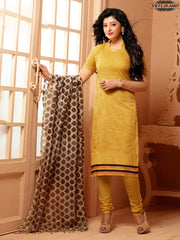 Absorbing Yellow Colour Chanderi Embroidery Unstitched Dress Material