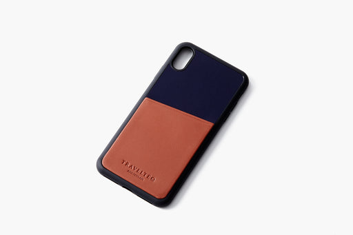 Cognac/Navy - Travelteq iPhone Case XS Max - Empty laying flat
