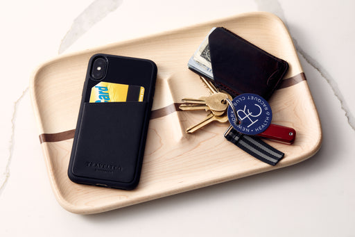 Black/Black - Travelteq iPhone Case XS Max - With phone and metro card in pocket, on catch all tray with wallet and keys