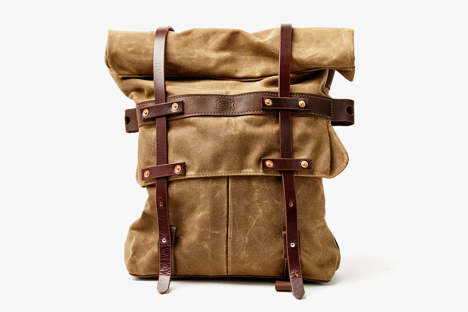 Orox Leather Co. Parva Rucksack - Brown - front view of bag standing up