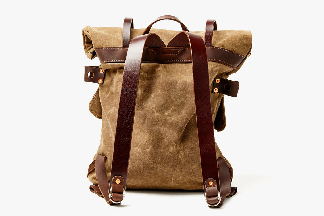 Orox Leather Co. Parva Rucksack - Brown - back view of bag standing up, showing straps