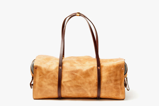 Orox Leather Co. Ryoko Duffel - Sand - front view of bag standing up with handles facing up