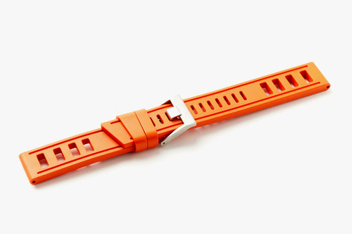ISOfrane Watch Strap - Orange, laying flat with silver hardware