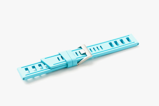 ISOfrane Watch Strap - Turquoise, laying flat with silver hardware