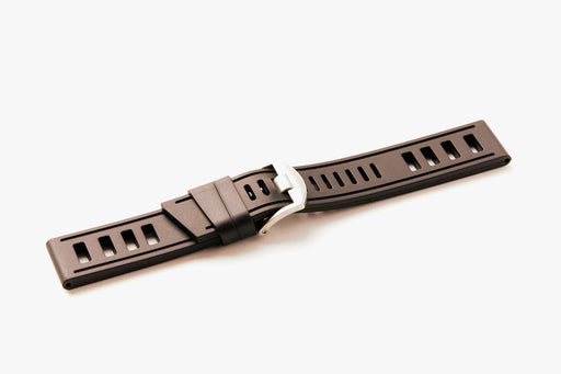 Chocolate ISOfrane Watch Strap - laying flat with silver hardware