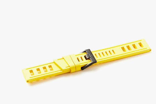 ISOfrane Watch Strap - yellow, laying flat with silver hardware