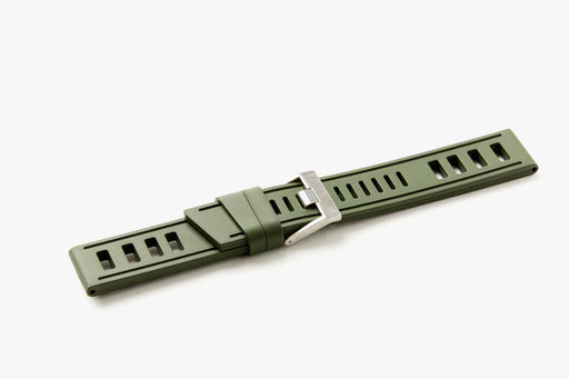 ISOfrane Watch Strap - Nato Green, laying flat with silver hardware