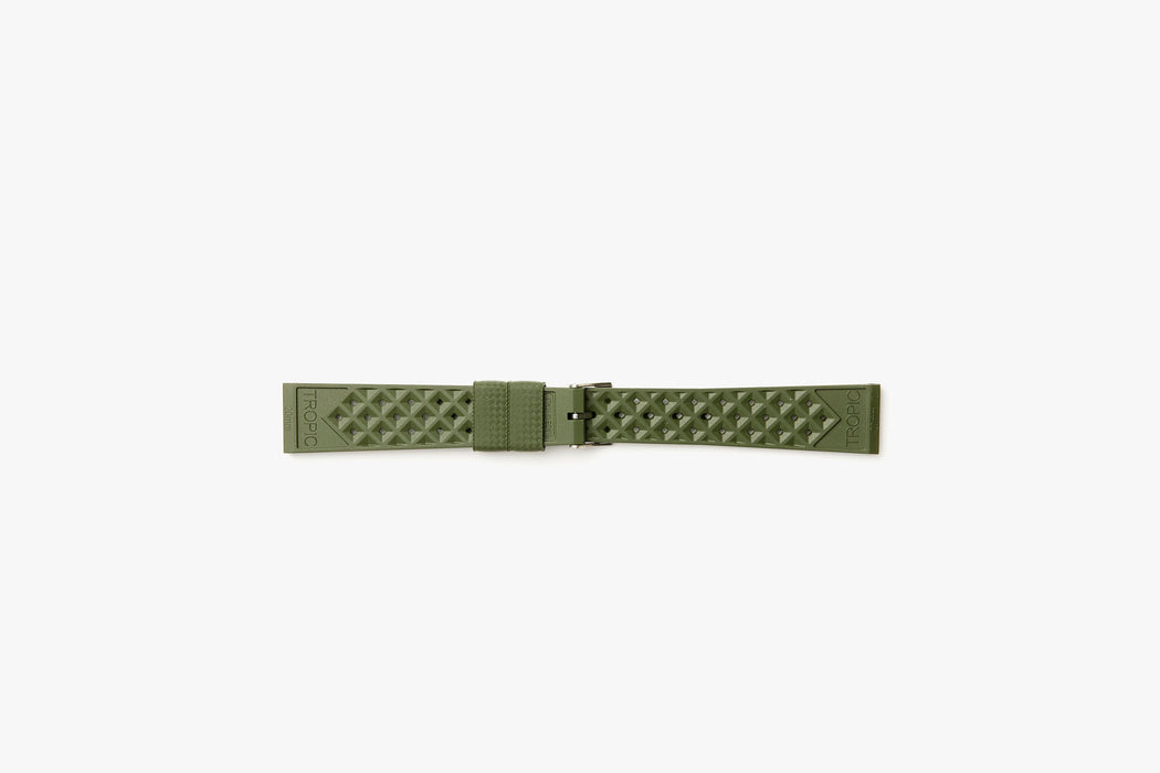 Nato Green - TROPIC Dive Watch Strap - Backside laying flat