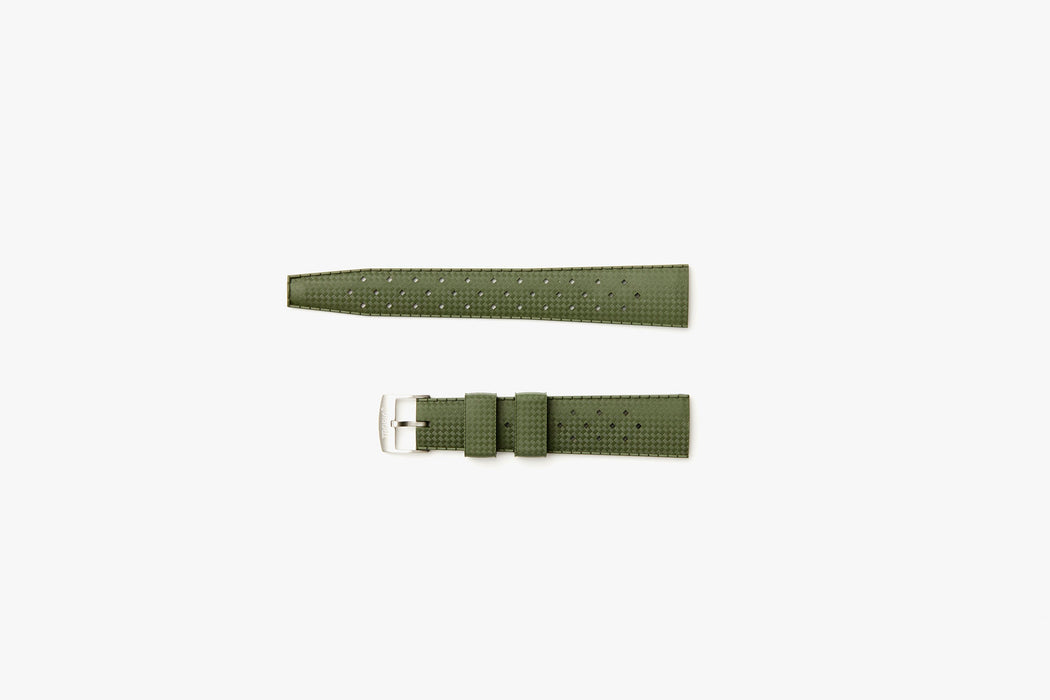Nato Green - TROPIC Dive Watch Strap - Laying flat, 2 pieces separated