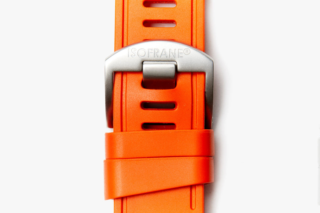 ISOfrane Watch Strap - Orange, laying flat with close-up of silver hardware and ISOFRANE logo