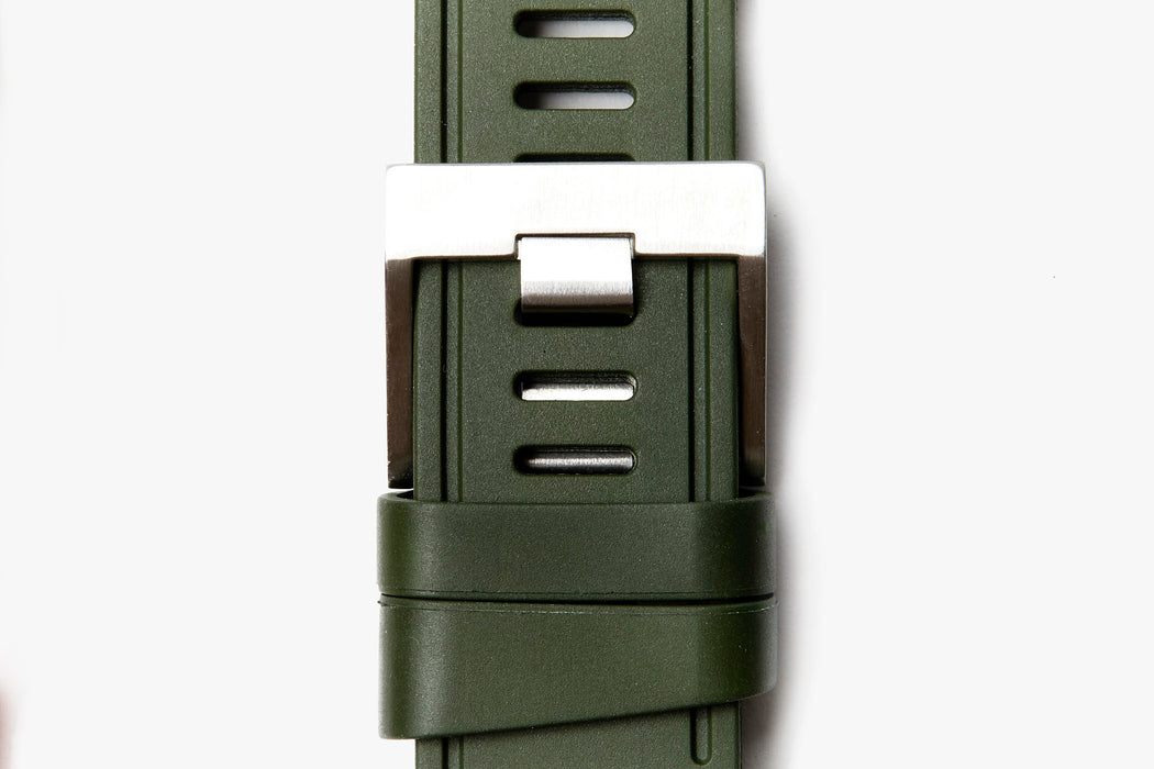 ISOfrane Watch Strap - green, laying flat with close-up of silver hardware