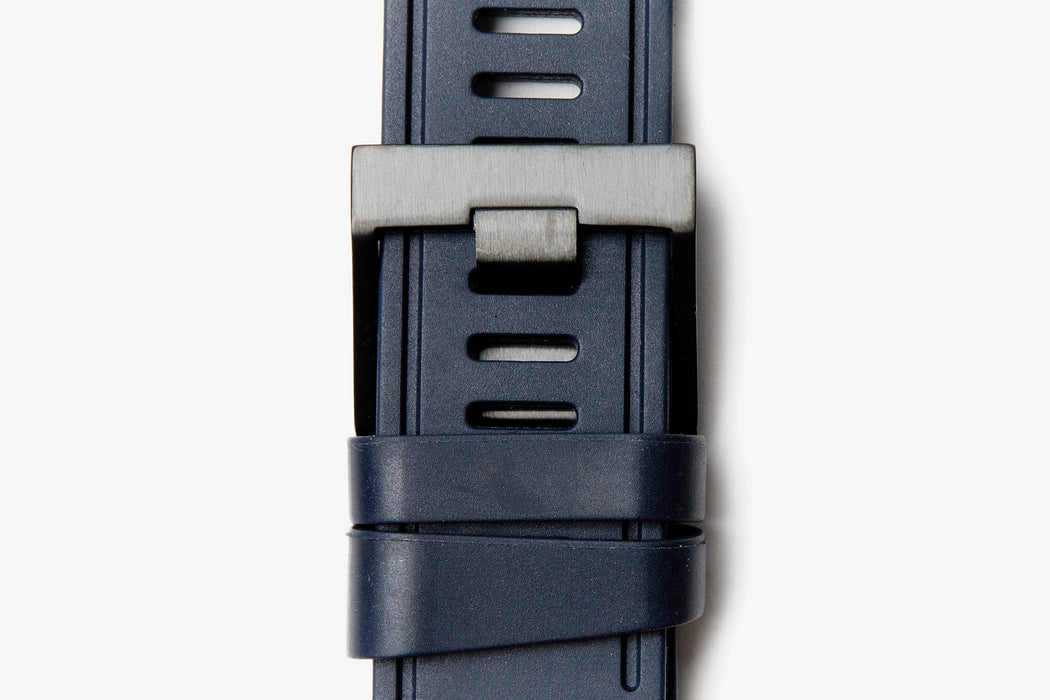 ISOfrane Watch Strap - blue, laying flat with close-up of black hardware