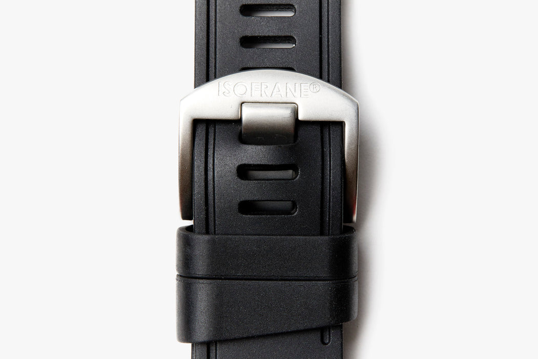 ISOfrane Watch Strap - Black, laying flat with close-up of silver hardware and ISOFRANE logo