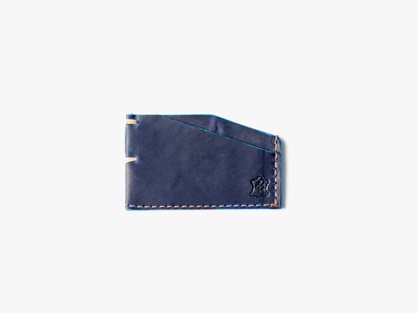Orox Leather Co. Slim Cardholder - Sapphire - top-down view of cardholder on a white surface
