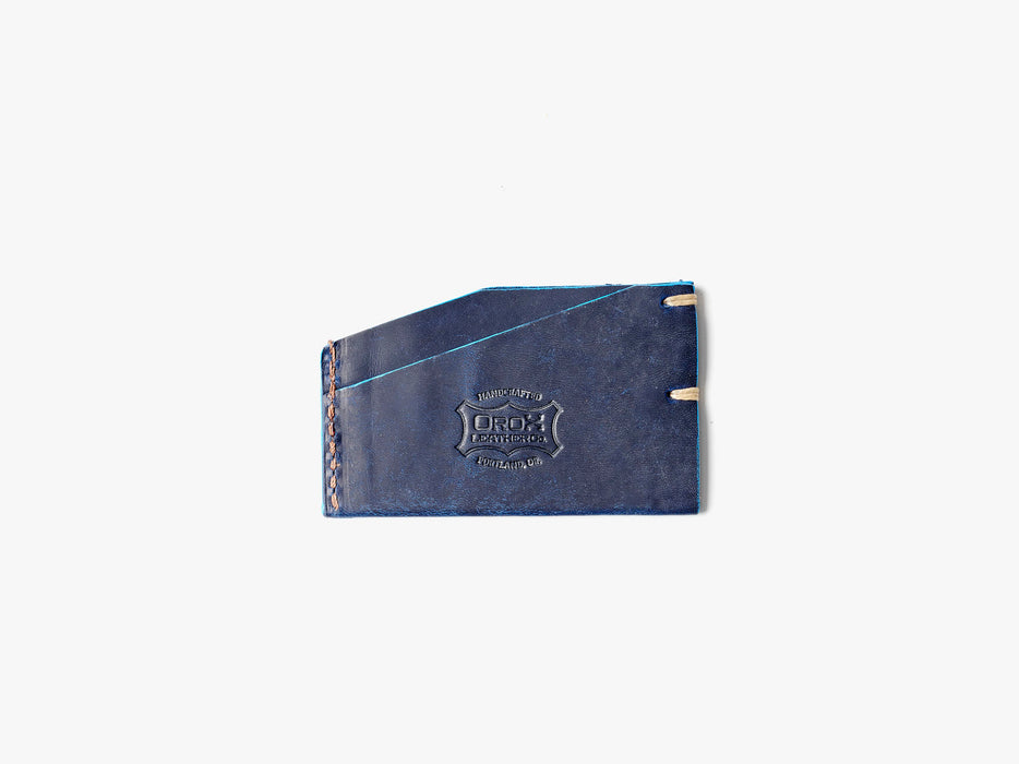 Orox Leather Co. Slim Cardholder - Sapphire - back view showing Orox logo and side stitching