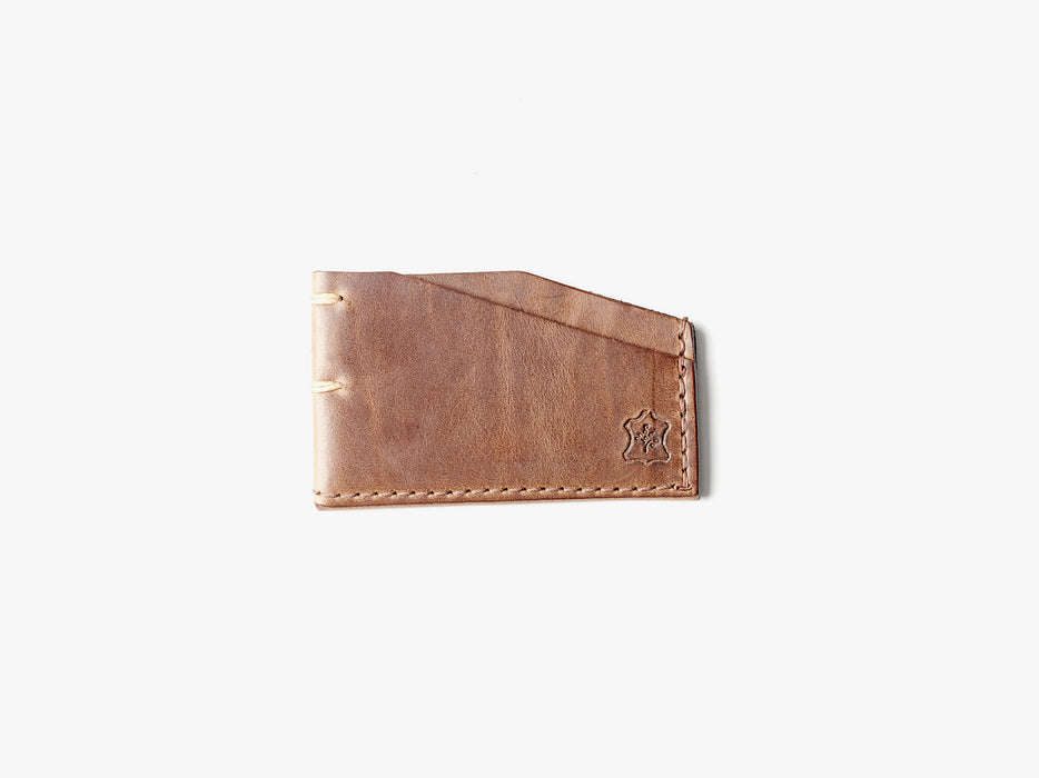 Orox Leather Co. Slim Cardholder - Natural - top-down view of cardholder on a white surface